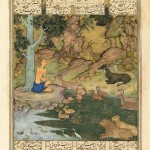 Majnun among the animals (from Nizami, Layla u Majnun, Mughal, early 17th century)