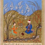 The mystic, Ahmad al-Ghazali, conversing with a young man (work attributed to Gazurgahi, Majalis al-'Ushshaq, 1552)