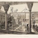 Jules Laurens, 'Cour du Palais de la Mission Française à Téhéran en 1848' (from Xavier Hommaire de Hell, Voyage en Turquie et en Perse)