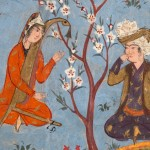 Detail from a Mughal Manuscript: Bahram Gur listens as Dilaram enchants the animals (from Amir Khusrau, Khamsa, 1599-1600)